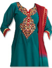 Turquoise/Red Georgette Suit - Indian Semi Party Dress