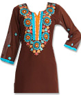 Brown/Turquoise Georgette Suit- Indian salwar kameez