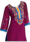 Magenta/Blue Georgette Suit  - Pakistani Casual Dress