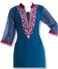 Blue/Magenta Georgette Suit   - Indian Semi Party Dress