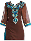 Brown/Turquoise Georgette Suit - Indian Semi Party Dress