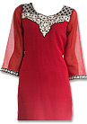 Red/Black Chiffon Suit  - Pakistani Casual Clothes