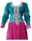 Teal/Hot Pink Chiffon Suit- Indian Semi Party Dress