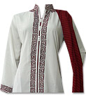 White/Magenta Georgette Suit- Indian Semi Party Dress