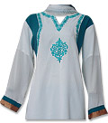 Off-White/Turquoise Georgette Suit- Indian salwar kameez