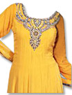 Yellow/Black Chiffon Suit- Indian Semi Party Dress
