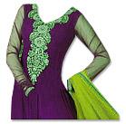 Parrot Green/Indigo Chiffon Suit- Indian Semi Party Dress