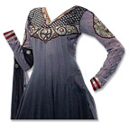Grey/Black Chiffon Suit- Indian Semi Party Dress