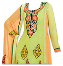 Parrot Green/Orange Georgette Suit