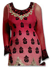 Brick Red/Pink Chiffon Suit- Indian Semi Party Dress
