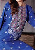 Blue Cotton Karandi Suit - Pakistani winter dress