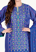 Blue Cotton Karandi Suit-designer winter suit
