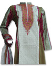 Off-White/Mehendi Cotton Suit - Pakistani Casual Dress