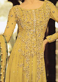 Golden Crinkle Chiffon Suit- Pakistani Bridal Dress