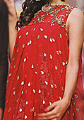Red Jamawar Chiffon Suit- Pakistani Party Wear Dress