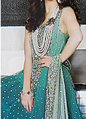 Teal Green Crinkle Chiffon Suit- Pakistani Formal Designer Dress