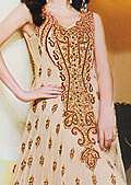 Peach Crinkle Chiffon Suit- Pakistani designer dress