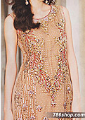Peach Crinkle Chiffon Suit- Pakistani designer clothing