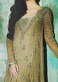 Beige Crinkle Chiffon Suit- Designer Salwar Kameez Dress