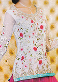 Off-white/Pink Jamawar Lehenga- Pakistani Formal Designer Dress