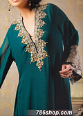 Teal Crinkle Chiffon Suit