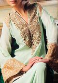 Light/Dark Green Crinkle Chiffon Suit - Pakistani Formal Designer Dress