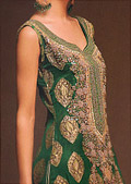 Dark Green Chiffon Suit