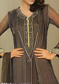 Dark Brown Crinkle Chiffon Suit