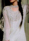 White Crinkle Chiffon Suit- Pakistani Formal Designer Dress