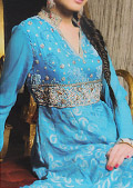 Turquoise Jamawar Chiffon Suit- Pakistani Formal Designer Dress