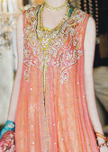 Peach Crinkle Chiffon Suit- Pakistani Party Wear Dress