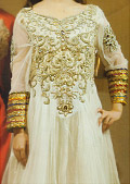Off-White Crinkle Chiffon Suit- Pakistani Formal Designer Dress