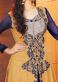 Mustard/Navy Blue Crinkle Chiffon Suit- Pakistani Party Wear Dress