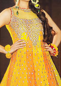 Yellow/Orange Crinkle Chiffon Suit- Pakistani Party Wear Dress