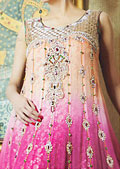 Peach/Magenta Crinkle Chiffon Suit- Pakistani Party Wear Dress