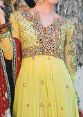 Yellow/Red Crinkle Chiffon Suit- Pakistani Party Wear Dress
