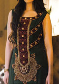Dark Green Crinkle Chiffon Suit- Pakistani Party Wear Dress