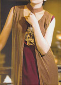 Brown/Maroon Crinkle Chiffon Suit- Pakistani Party Wear Dress