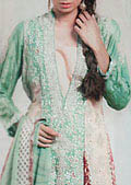 Sea Green/Maroon Silk Suit- Pakistani Party Wear Dress