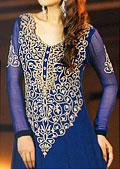 Blue Crinkle Chiffon Suit- Pakistani Formal Designer Dress