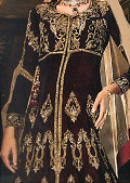 Dark Brown/Beige Crinkle Chiffon Suit- Pakistani Formal Designer Dress