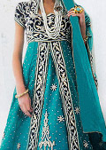 Turquoise Crinkle Chiffon Sui- Pakistani Party Wear Dress