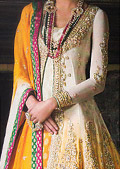 Yellow/Off-White Crinkle Chiffon Suit- Pakistani Formal Designer Dress