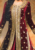 Maroon Velvet Suit- Pakistani Formal Designer Dress