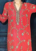 Brick Pink Silk Suit- Pakistani Formal Designer Dress