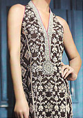 Dark Brown Crinkle Chiffon Suit- Pakistani designer clothing