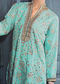 Turquoise Silk Suit- Pakistani Formal Designer Dress