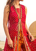 Red/Orange Crinkle Chiffon Suit- Indian Designer clothes