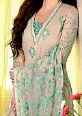 Ivory/Green Cotton Lawn Suit