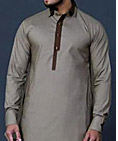Beige Men Shalwar Kameez Suit
